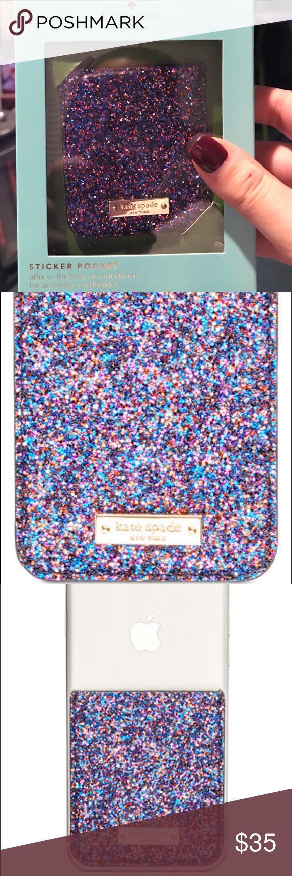 NWT Kate Spade glitter phone card pocket Fun phone accessory that creates a pocket to hold your id or credit card kate spade Accessories Phone Cases
