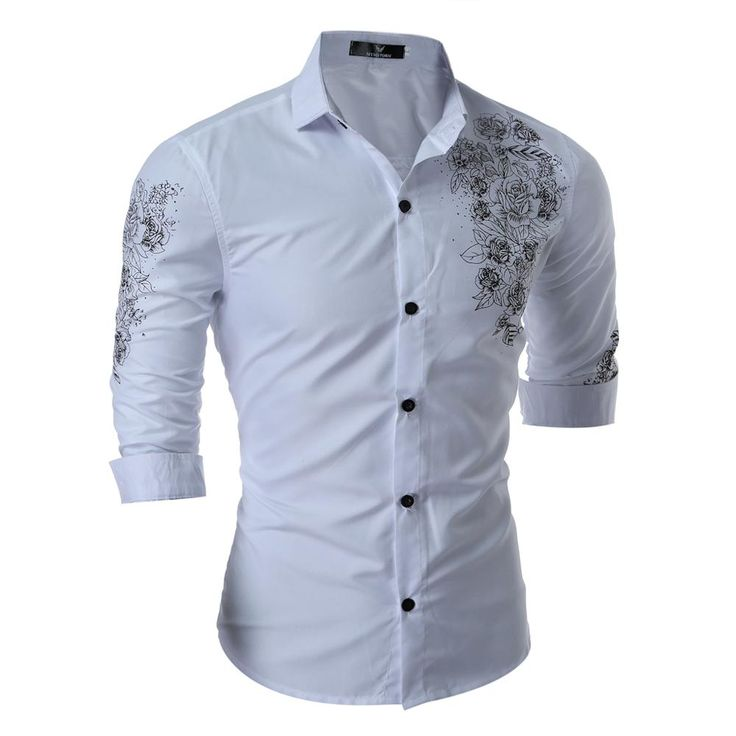 New Spring Flower Weave-on Shirt Men Long Sleeve Slim Casual Dress Shirt