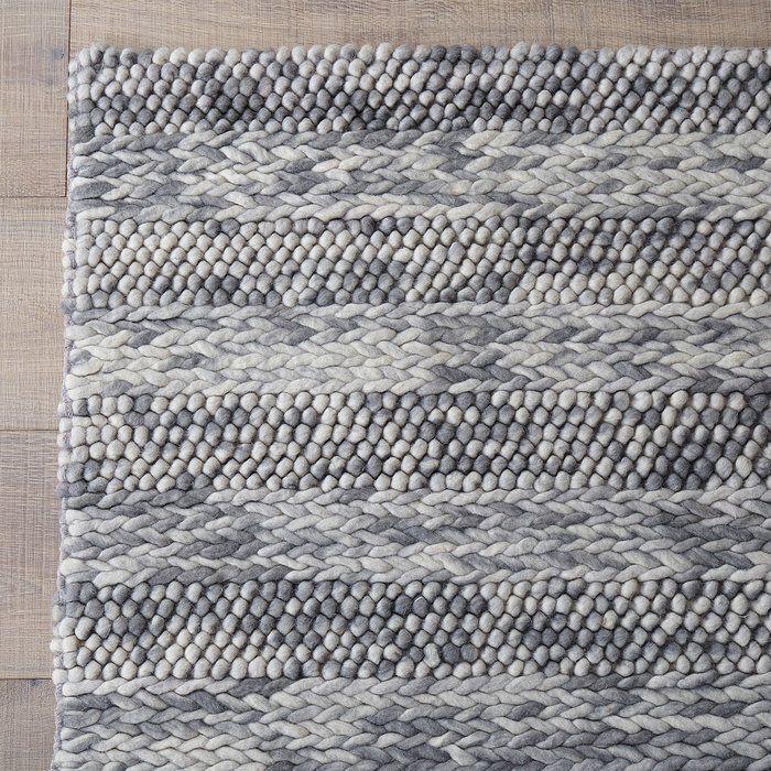 Ambridge Hand Woven Wool Grey Area Rug 15