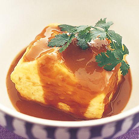PONZU PEANUT BUTTER TOFU MARINATE, ポン酢ピーナッツバター揚げ出し豆腐 (firm tofu)