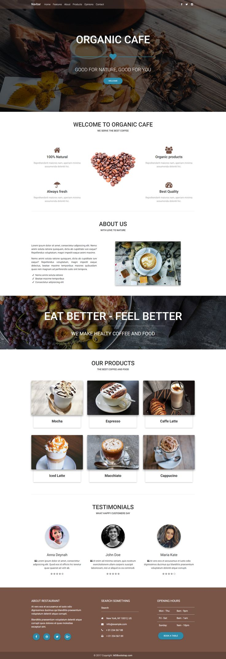 A presentation of Cafe Landing Page made with Material Design