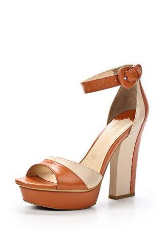Женские босоножки бежевого и коричневого цвета от Calipso - стильная обувь для лета. Модель на высоком каблуке выполнена из натуральной кожи. Детали: регулируемая застежка-карабин, небольшая платформа, внутренняя отделка из натуральной кожи. http://j.mp/1rywm2P