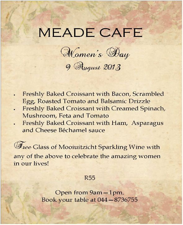 Newsletter: Bubbly at Meade Cafe ( 07 August 2013 )