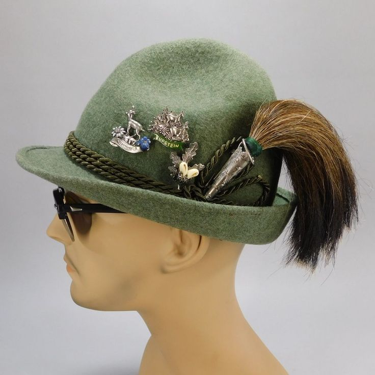Vintage WISKO Oktoberfest Bavarian Wild Boar Brush Hunters Hat & German Hat Pins #WISKO #AlpineHuntingHat
