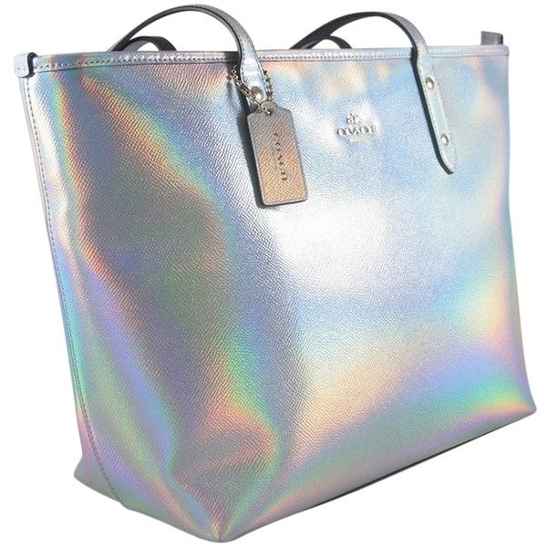 Pre-owned Coach Hologram City Zip 37596 Tote Bag ($275) ❤ liked on Polyvore featuring bags, handbags, tote bags, none, tote handbags, preowned handbags, blue tote, handbags totes and zip tote