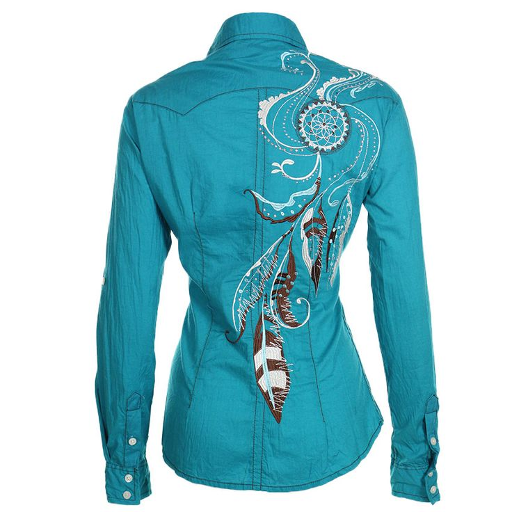 Panhandle Slim Womens Peacock Long Sleeve Western Shirt