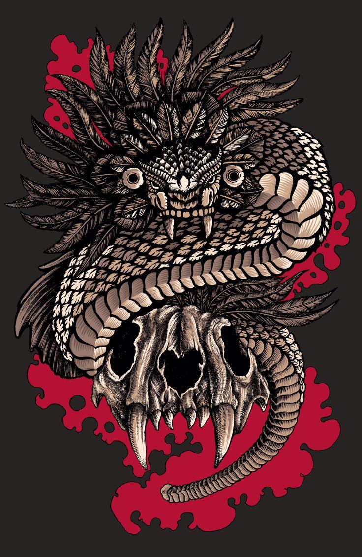 M s de 25 ideas incre bles sobre tatuajes de quetzalcoatl for Calavera lobo