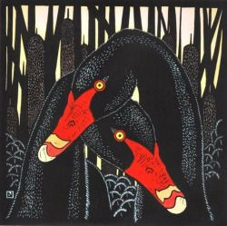 Leslie van der Sluys, Black Swans and Bulrushes, linocut 1980-1982