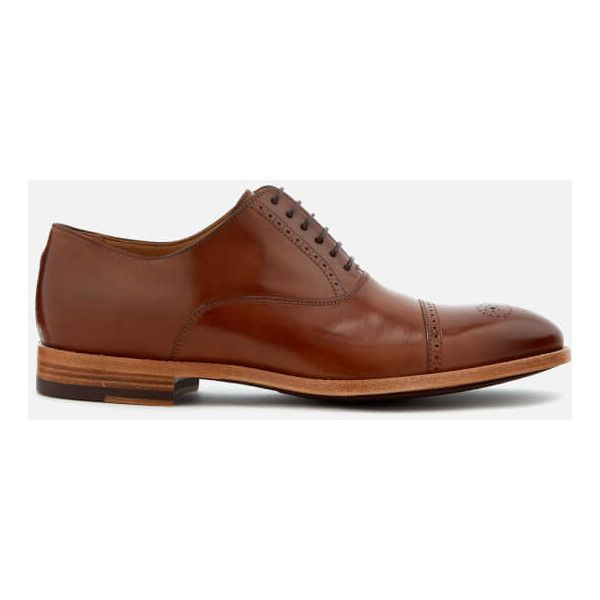 Paul Smith Men's Bertin Leather Brogue Toe Oxford Shoes ($410) ❤ liked on Polyvore featuring men's fashion, men's shoes, men's oxfords, tan, mens tan oxford shoes, mens oxford shoes, mens brogue shoes, mens tan brogues and oxford mens shoes