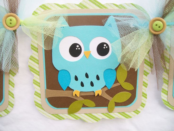 Owl banner, baby shower banner, its a boy, blue, brown, green,. $30.00, via Etsy.