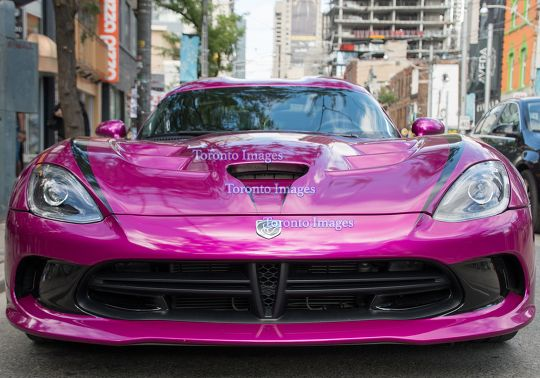 Toronto,Canada: Exotic purple car in downtown