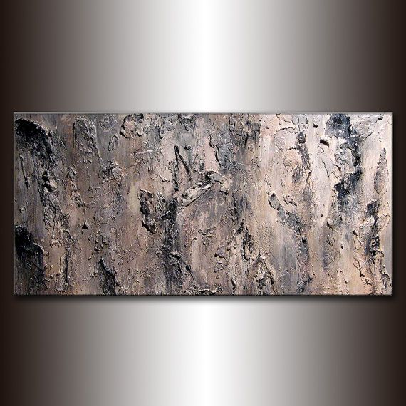 Original Textured Abstract Painting Black by newwaveartgallery, $700.00