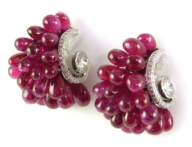 Pair Of Ruby Drop Cluster And Diamond Earrings By Viren Bhagat SJ