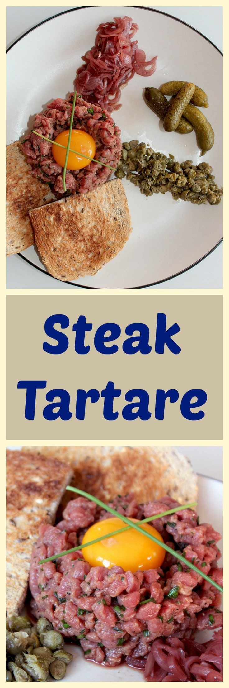 I want to try this steak tartare with pickled shallots! Looks delicious as a light lunch or elegant gourmet appetizer.