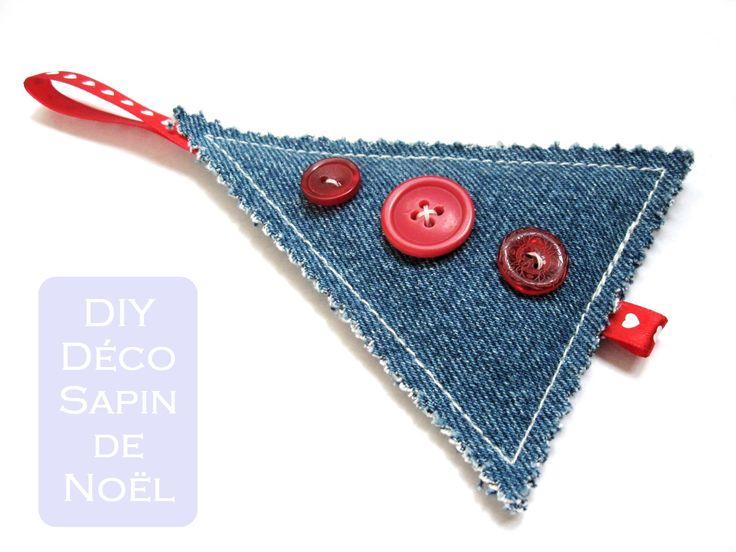 Décoration pour le sapin en jeans recyclé - patron de couture gratuit                                                                                                                                                                                 Plus