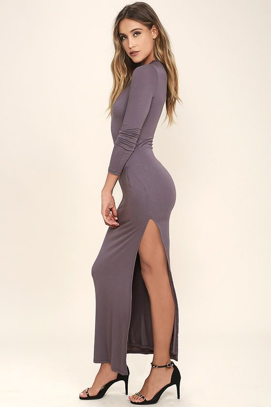 Lulus Exclusive! The Want It All Dusty Purple Long Sleeve Maxi Dress has the perfect fit, and timeless look! Sleek jersey knit is formed to a rounded neckline, long fitted sleeves, and bodycon bodice. Princess seams continue into the maxi skirt with sexy side slit.