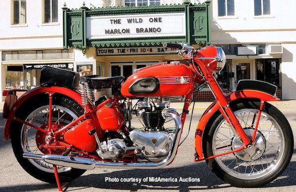"""This 1952 Triumph Thunderbird is similar to the 1950 T-Bird ridden by Marlon Brando in the 1953 film """"The Wild One"""", but his was black. This was a huge shot-in-the-arm for Triumph Motorcycles. To capitalize on it, they would come out with an all black 6T Thunderbird called the Triumph Blackbird."""