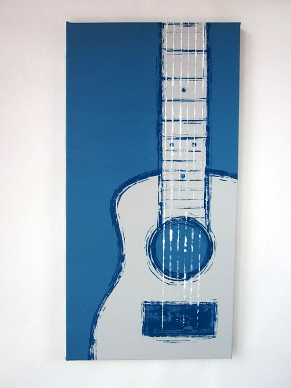 Guitar (blue, grey, white) handpainted by Kate Zitzer :: more paintings available on Etsy #art