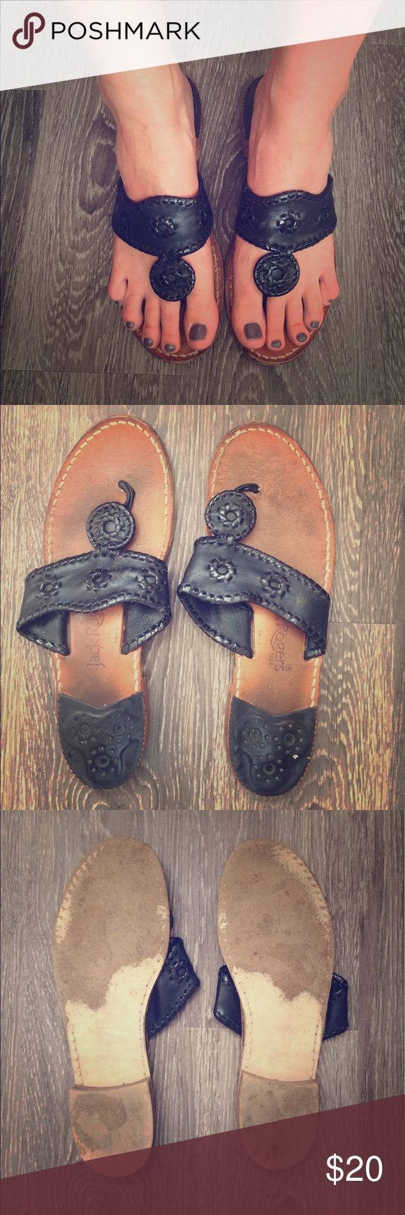 Jack Rodgers Black Sandals Size 9.5 Jack Rodger sandals in black. The dash next to the 9 means it's a half size. They do have signs of wear on the bottom. Great pair of sandals! Shoes Sandals