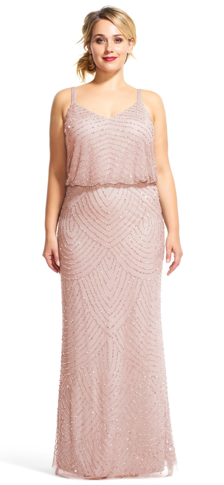 An art deco bridesmaid dress that's size inclusive! | Art Deco Beaded Blouson Gown | Adrianna Papell | Plus Size Bridesmaids Dresses | Extended Size Bridesmaid Dress | Wedding Party Fashion | Bridal Party Style | Gatsby Wedding | #bridesmaids #plussizebridesmaid