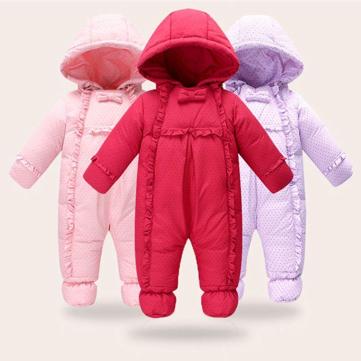2016 Утка вниз Ребенка Младенческой Snowsuit 0 1 2 3 Лет Мальчик и девочка Мило…
