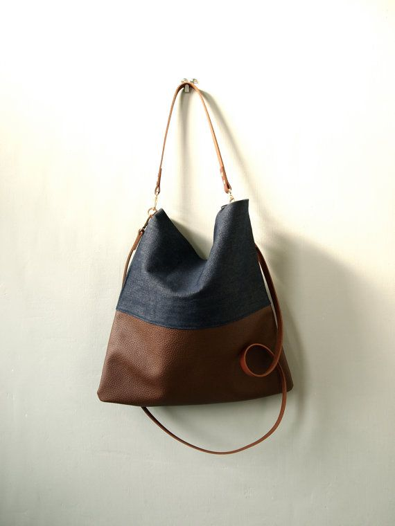 Leather and Denim  Dyed Tote Bag - HARRIS -  Adjustable Leather Shoulder Bag Leather Shopper Bag by Jeanie Deans