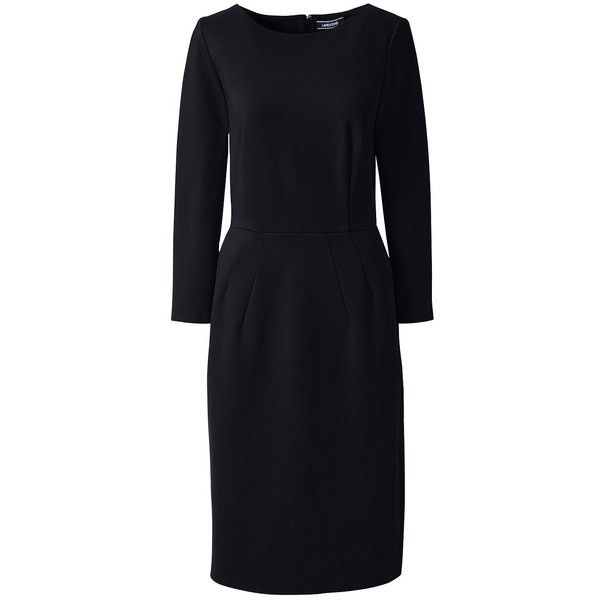 Lands' End Women's Petite 3/4 Sleeve Ponte Sheath Dress ($60) ❤ liked on Polyvore featuring dresses, black, 3 4 sleeve sheath dress, special occasion dresses, 3/4 sleeve dresses, slimming cocktail dresses and sheath dresses