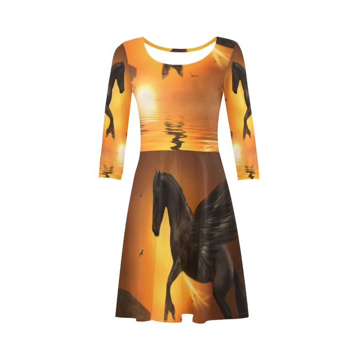 Black Pegasus 3/4 Sleeve Sundress. Material: 92% Polyester, 8% Spandex, well made lightweight soft fabric, skin-friendly. Sizes: XS, S, M, L, XL, XXL, XXXL.FREE Shipping. #beoriginalstore #dresses