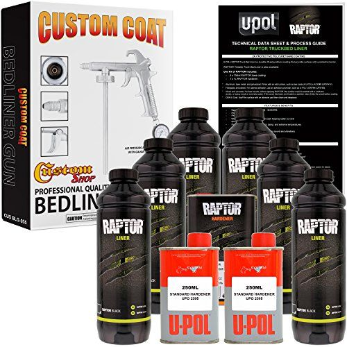 U-POL Raptor Black Urethane Spray-On Truck Bed Liner Kit w/ FREE Custom Coat Spray Gun with Regulator, 6 Liters  Easy to use: ADD hardener - SHAKE - SPRAY  Custom Coat Bedliner Spray Gun features adjustable nozzle and includes Regulator and Gauge  Abrasion and Stain Resistant  Protects against rust corrosion salt damp & extreme temperatures  Waterproof flexible helps deaden sound & vibrations