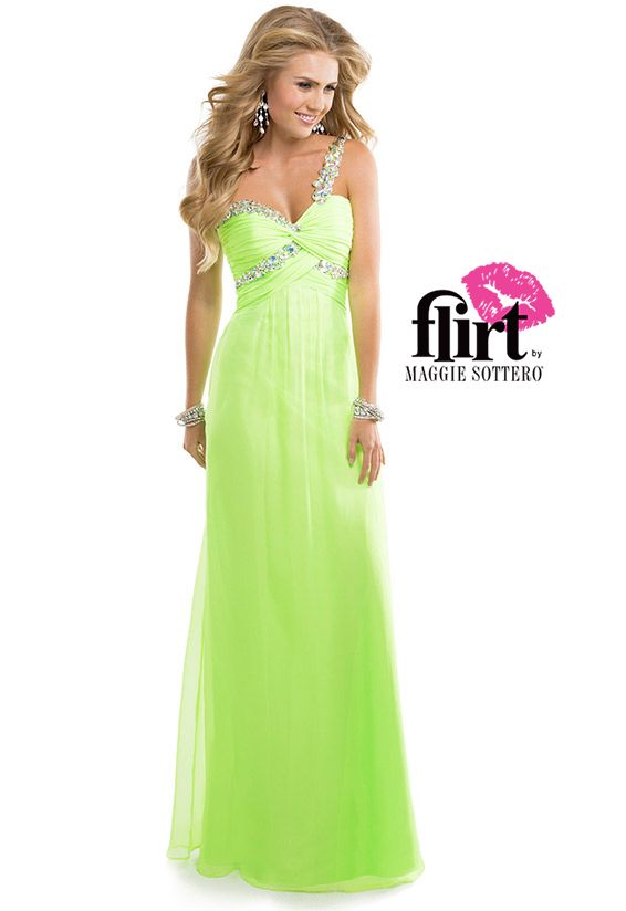 Chiffon Babydoll Dress with a Jeweled Strap & Embellished Bust | FLIRT #neon #green #prom