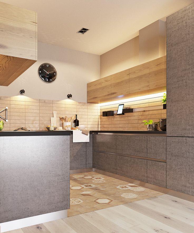 Фасады кухни под бетон и светлое дерево в стиле Лофт