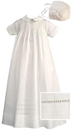 Sarah Louise Infant Boys & Girls White Long or Short Sleeved Heirloom Christening Robe Gown & Bonnet
