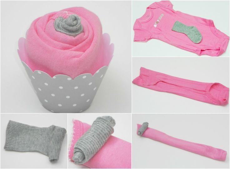 babyparty geschenke cupcakes selbermachen foermchen pink strampelanzug babysoeckchen einrollen