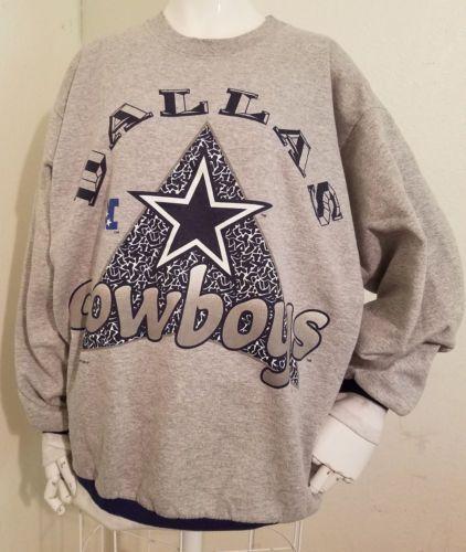 Men-039-s-Size-L-Dallas-Cowboys-Crewneck-Long-Sleeve-NFL-Sweatshirt-1995-Vintage