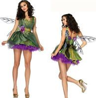 Womens Woodland Green Fairy Tinkerbell Fancy Dress Halloween Costume With Wings