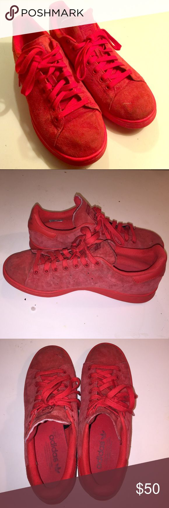 Adidas Original Stan Smiths Adidas Originals. Stan Smith. Red suede. Lightly worn. Unisex men's size 8/women's size 10 Adidas Shoes Sneakers