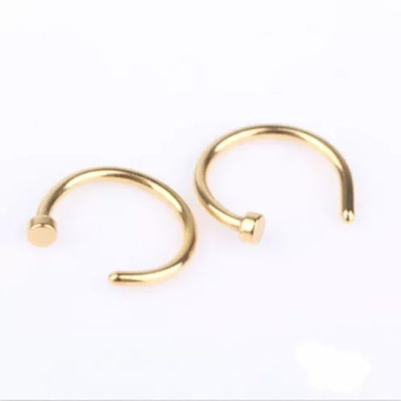 Hoop Nose Rings 2pcs gold toned stainless steel hoop nose rings Jewelry