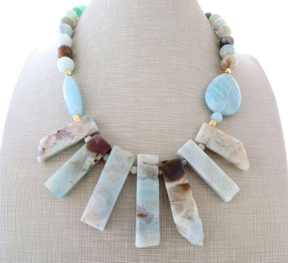 Amazonite necklace sky blue chunky necklace spiken by Sofiasbijoux