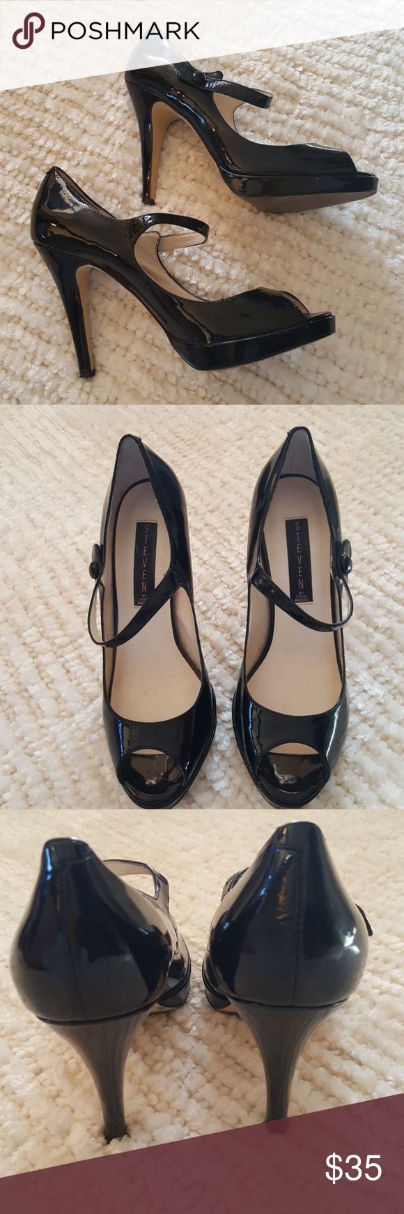 "Sassy Steve Madden black peep toe heels 4"" heels and black patent leather uppers.  The uppers are in pristone condition.  The soles show some wear but are still in excellant condition. Steve Madden Shoes Heels"