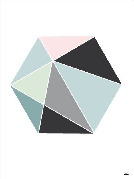 Hexagon color - illustrationer - TAVLOR & POSTERS