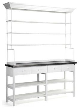 Marion Classic White Industrial Metal Large Display Shelf Bakers Rack - transitional - Storage Units And Cabinets - Kathy Kuo Home
