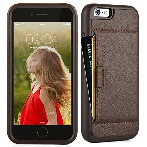 iphone 6S Wallet Case ZVE iphone 6 Case Apple 6 [Shockproof] Case Cover Protective Case Ultra Slim Fit Leather Wallet Card Holder Case Cover for iPhone 6 & iPhone 6S 4.7 inch - Dark Brown