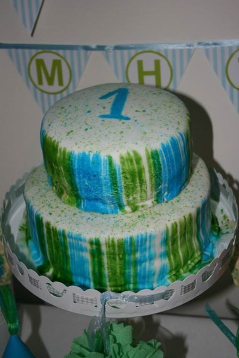 Blue and green 1st birthday party #cake