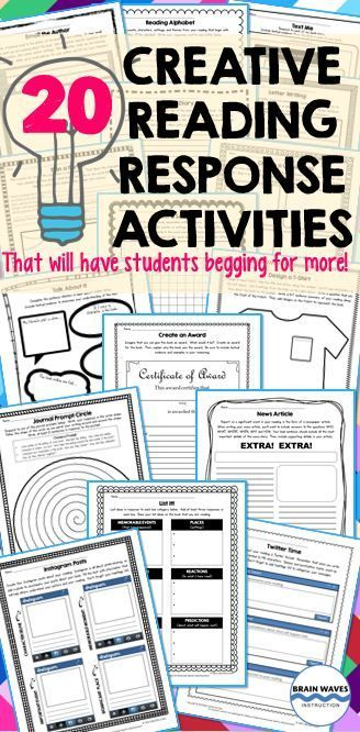 Do your students crave creative ways to respond to their reading? How about you? Do you long for fun activities that motivate students to read while simultaneously developing students' reading comprehension skills? Well, then you're going to LOVE this resource filled with 20 Creative Reading Response Activities! Along with the 20 fun and educational reading response activities, you'll also find everything you need to set up a reading response program or journal in your classroom.