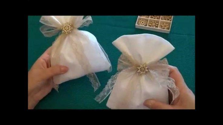Κατασκευή μπομπονιέρας πουγκάκι για Χριστουγεννιάτικο γάμο με χιονονιφάδα