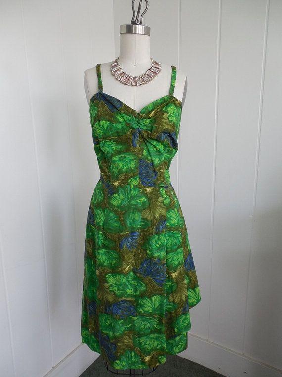 1950s Vintage Green Hawaiian Sarong Dress VLV by vintagebluemoon