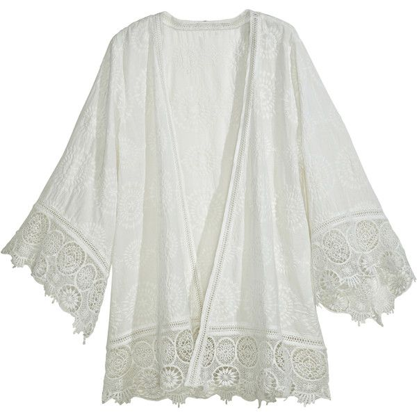 CALYPSO St. Barth Harada Cotton Eyelet Kimono Jacket ($179) ❤ liked on Polyvore featuring outerwear, jackets, tops, cardigans, white, white jacket, eyelet jacket, white cotton jacket, kimono sleeve jacket and light weight jacket