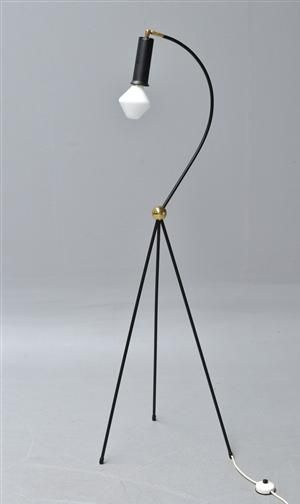 Tapio Wirkkala; Painted Metal and Brass Floor Lamp for Idmann Oy, 1950s.