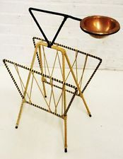 MID CENTURY 50´s DANISH MODERN SMOKERS STAND MAGAZINE HOLDER with COPPER ASHTRAY