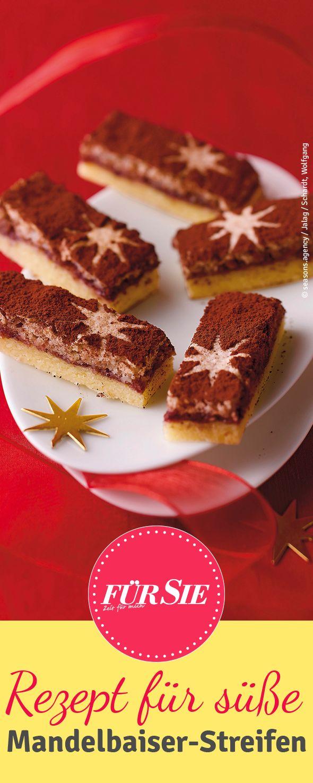 Probiert unser Backrezept für Mandelbaiser-Streifen. Als Dessert, an Weihnachten oder für den Plätzchen-Genuss zwischendurch: Diese Köstlichkeit verführt Sie.